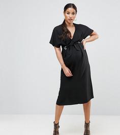 Платье миди с люверсами и глубоким вырезом ASOS Maternity - Черный
