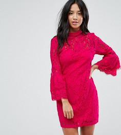 Платье мини из кружева кроше с высоким воротом и оборками на рукавах Paper Dolls Petite - Розовый
