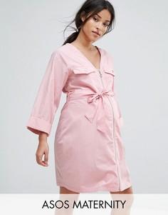 Платье мини в стиле милитари с V-образным вырезом ASOS Maternity - Розовый