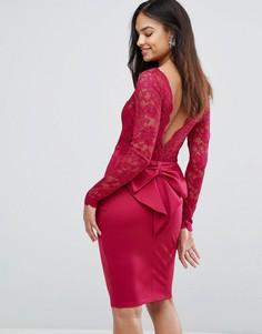 Платье мини с длинными рукавами и кружевным лифом City Goddess - Розовый
