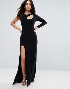 Платье макси с высоким разрезом City Goddess - Черный