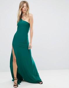 Платье макси на одно плече с разрезом City Goddess - Зеленый
