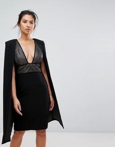 Платье миди с пайетками и кейпом Misha Collection - Черный