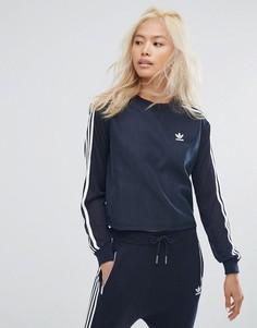 Темно-синий свитшот с тремя полосками Adidas Originals - Темно-синий