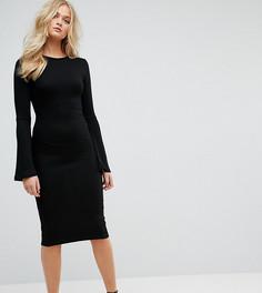 Облегающее платье миди с рукавами клеш ASOS TALL - Черный