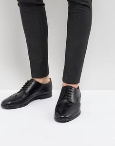 Черные кожаные броги Hudson London Indus - Черный