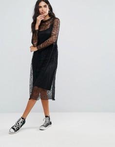 Кружевное платье миди Only Tesla - Черный