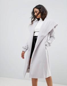 Шерстяное пальто с капюшоном Lipsy - Серый