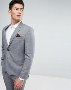 Серый приталенный пиджак в клетку Burton Menswear - Серый