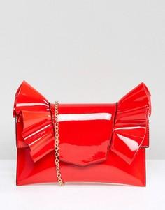 Лакированный клатч с бантом Missguided - Красный