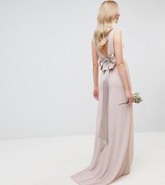 Атласное платье макси с бантом на спине TFNC Tall WEDDING - Розовый