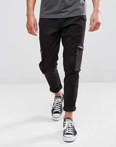 Камуфляжные брюки с молниями Brave Soul - Черный