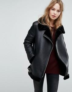 Куртка из искусственной замши на меховой подкладке New Look - Черный