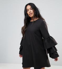Цельнокройное платье с ярусными рукавами Unique 21 Hero - Черный