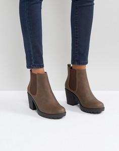 Ботинки челси на массивном каблуке Boohoo - Коричневый