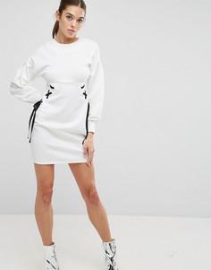 Платье мини со шнуровкой и пышными рукавами ASOS - Белый