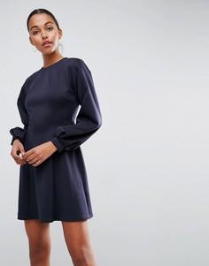 Короткое приталенное платье с пышными рукавами ASOS - Темно-синий