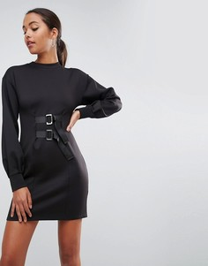 Платье-футляр мини с пышными рукавами и пряжками ASOS - Черный
