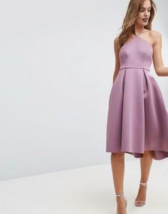 Платье миди с бретелью через шею ASOS - Розовый
