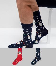 2 пары носков с новогодним принтом ASOS - Мульти