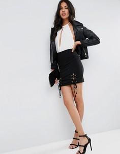 Мини-юбка в рубчик со шнуровкой ASOS - Черный