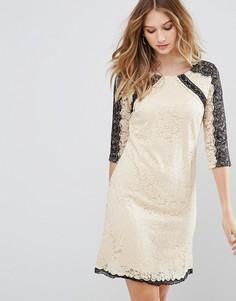 Кружевное платье мини Little Mistress - Бежевый