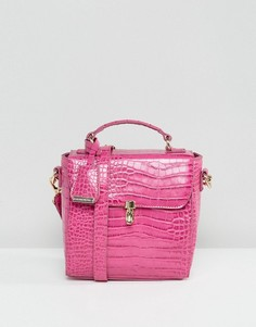 Розовая сумка через плечо с отделкой под кожу крокодила Glamorous - Розовый