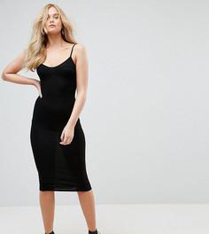 Облегающее платье миди на бретелях ASOS TALL - Черный