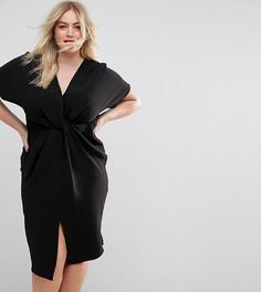 Фактурное платье миди с перекрученной отделкой ASOS CURVE - Черный