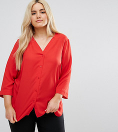 Блузка с V-образным вырезом и рукавами длиной 3/4 ASOS CURVE - Оранжевый