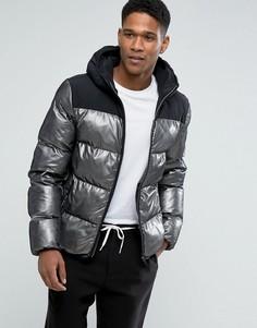 Дутая куртка металлик в горошек с капюшоном и черной вставкой Tommy Hilfiger Denim - Черный