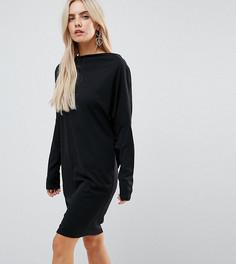 Платье из крепа с рукавами летучая мышь ASOS PETITE - Черный