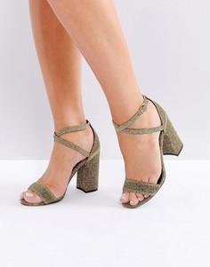 Босоножки на блочном каблуке с люрексом New Look - Золотой