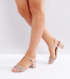 Босоножки для широкой стопы на блочном каблуке с декоративной отделкой New Look - Бежевый