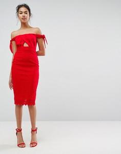 Кружевное платье миди ASOS - Красный