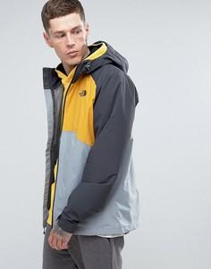 Серо-желтая водонепроницаемая куртка с капюшоном The North Face Stratos - Серый