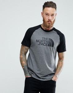Серая футболка с рукавами реглан и логотипом The North Face - Серый