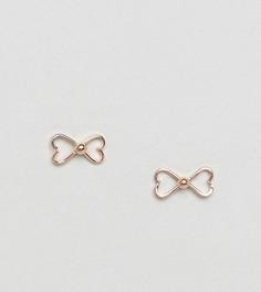 Серьги-гвоздики с бантом и покрытием из розового зрения Kingsley Ryan - Золотой