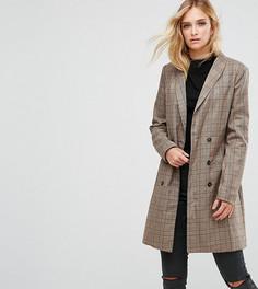 Длинный пиджак в клетку Missguided Tall - Коричневый
