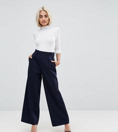 Широкие брюки со складками ASOS PETITE - Темно-синий