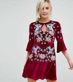 Бархатное короткое приталенное платье с отделкой Frock And Frill Petite - Красный