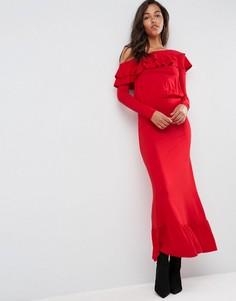 Платье макси на одно плечо ASOS Salsa - Красный