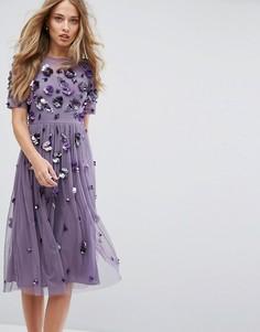 Платье миди с 3D-отделкой Lace & Beads - Серый