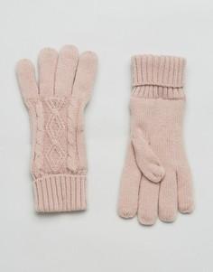 Розовые перчатки с вязкой косами Stitch & Pieces - Розовый