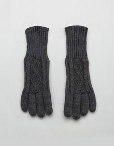 Серые вязаные перчатки с узором в косичку Stitch & Pieces - Серый