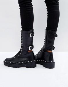Байкерские ботинки с заклепками PrettyLittleThing - Черный