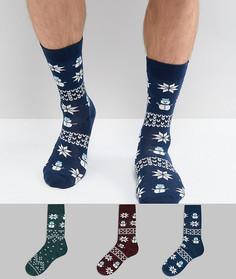 3 пары новогодних носков со снеговиками и узором Фэйр-айл в подарочной упаковке ASOS - Мульти