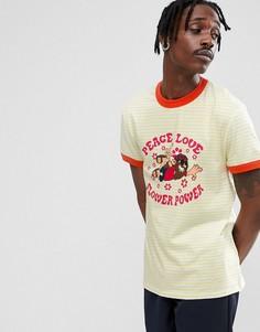Свободная футболка в полоску с принтом Hippy и контрастной отделкой ASOS - Желтый