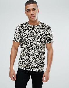 Велюровая футболка с леопардовым принтом ASOS - Желтый