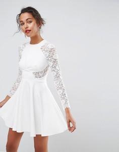 Короткое приталенное платье с кружевными рукавами ASOS Premium - Белый